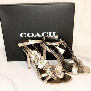 NEW Coach Bianca heels floral sequin detail